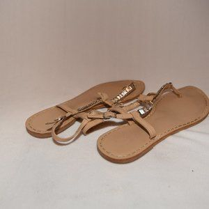Neutral T-Strap Sandals with Jewels Size 9